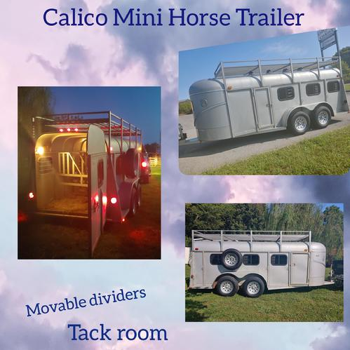Reduced ,$5,900.00....   2004 Miniature Calico 6 horse slant, Low profile,  has front left Escape door, also front right tack area with light, roof rack, 4 roof vents, 1 fan inside horse area, 2 inside lights. Safety chains, new 7 way plug & cord, brake box, you can move the dividers around if you want to have bigger Pony or take them all out if you'd want to haul hay, or put cart in to, or something else...Have title, tack tack room key. +++ 5 New ST 225/75R,/15 Tires & Rims on trailer and spare. All lights work and takes a 2-inch ball, rubber floor mats, 5' inside tall x 5' wide x 11' in horse area + 5' tack area, horse trailer itself is 16 feet inside not including tongue  Maryville Tennessee 37804